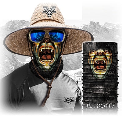 Motorcycle scary skull mask face headwear neck scarf ski bike halloween