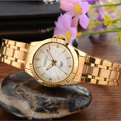 Wristwatch unique gold stainless steel men business watches
