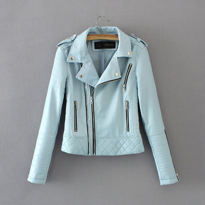 Leather motorcycle jackets lady biker coat zippers outerwear black blue