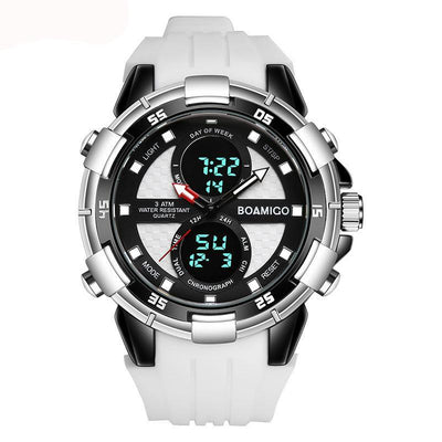 Men Sports Watches Wristwatches Quartz Digital Rubber White Band Clock Reloj Hombre
