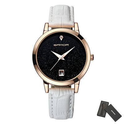 Leather women wristwatch star dial dress watch analog luxury golden ladies gift