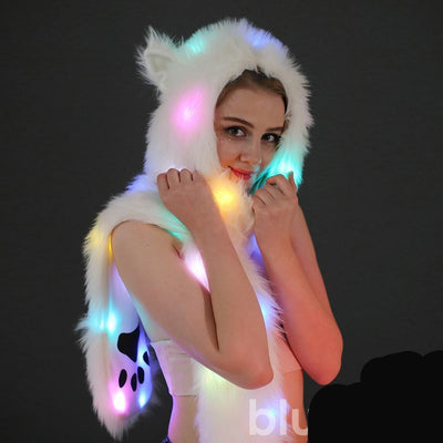 Women scarf light LED cat ears christmas party hood hat festival faux fur animal