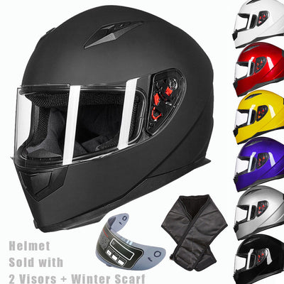 Full face motorcycle helmet 2visors scarf