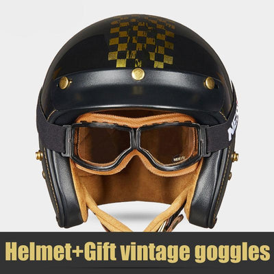Vintage open face motorcycle helmet retro dual D ring scooter biker gift goggles