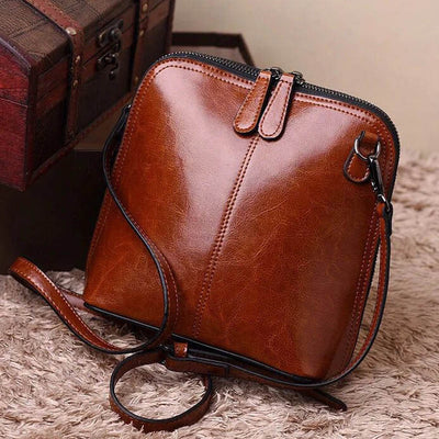 Vintage leather handbags women shoulder bags shell crossbody bag messenger bags