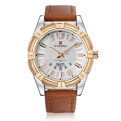 Business men wristwatch leather watch gold waterproof day date relogio masculino