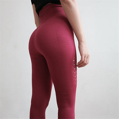 Yoga pants fitness women stretchy Gym tights energy seamless tummy high waist sport leggings purple running