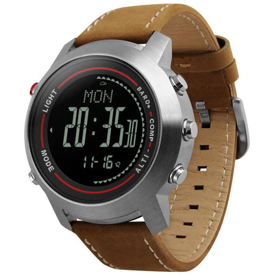 Men Sports Watches Digital Wristwatches Brown Leather Band Altimeter Barometer Masculino