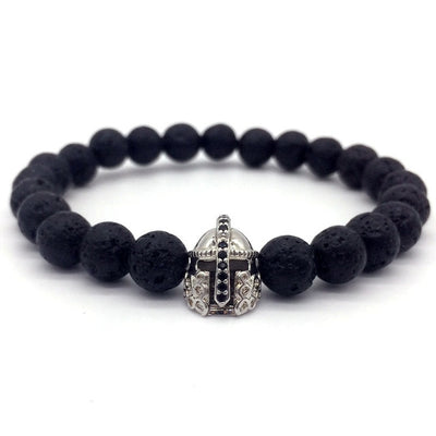 Lava stone bracelet jewelry black CZ imperial helmet and crown