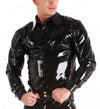 Black Latex Blouse Jacket Rubber Men's Suit