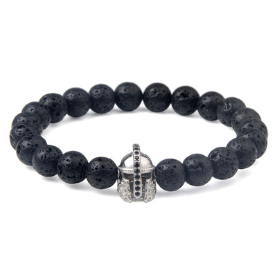 Charm natural lava stone bracelet CZ skeleton skull head helmet crown men jewelry