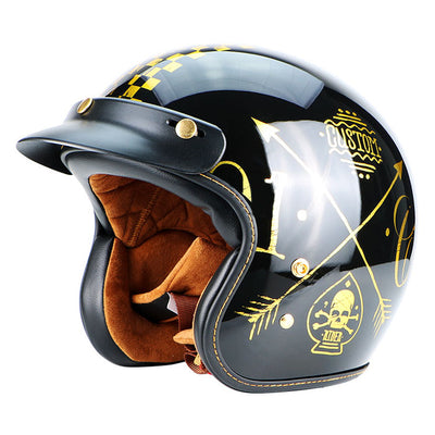 Retro vintage motorcycle helmet fiberglass big size sports for biker chopper