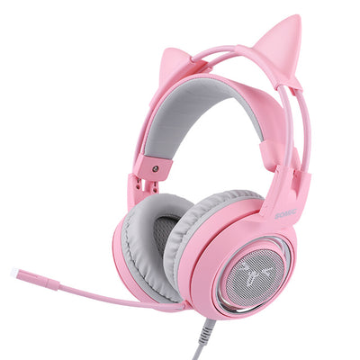 Cat ear headphones pink gaming headsets gadget USB virtual sound for computer PC