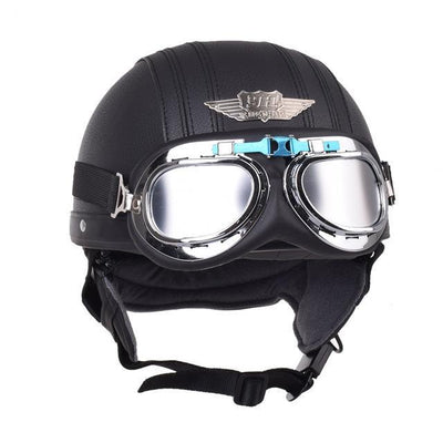 Motorcycle half helmet leather casque goggles vintage helmets