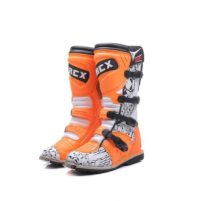 vintage motorcycle boots racing orange motocross shoes waterproof