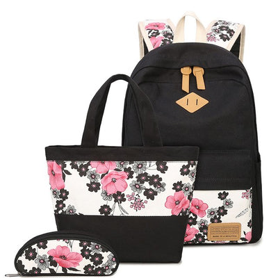 Vintage canvas bag backpack set school bags flower printing teens girl students