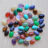 mixed natural stone oval tiger eye opal stone beads 50pcs decoration crafts