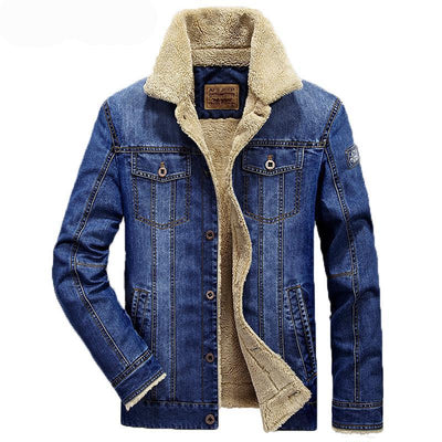Jean jacket men cowboy coats thick warm winter outwear
