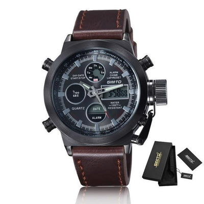 Army military sport watch men digital wristwatch leather nylon waterproof