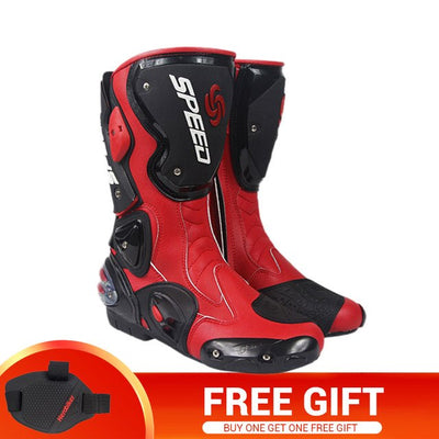 Racing motocross boots motorcycle shoes leather cylinder boots for men