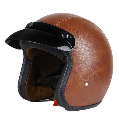 Vintage motorcycle helmet scooter cruiser chopper vespa helmets leather 3/4 open face