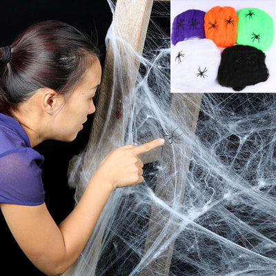 Halloween decor haunted house scary horror white stretchy cobweb spider party scene