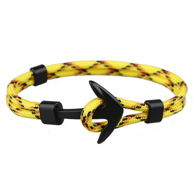 Anchor bracelets men black survival rope chain sport hooks fashion