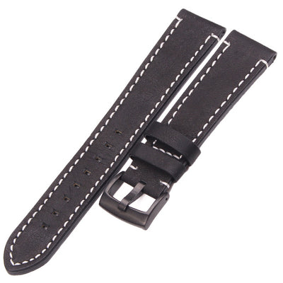Genuine Leather Watchbands 18mm 20mm 22mm 24mm Black Dark Brown Belt With Buckle