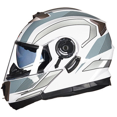 Full face Motorcycle Helmet flip up skull art paint dot dual visor safety