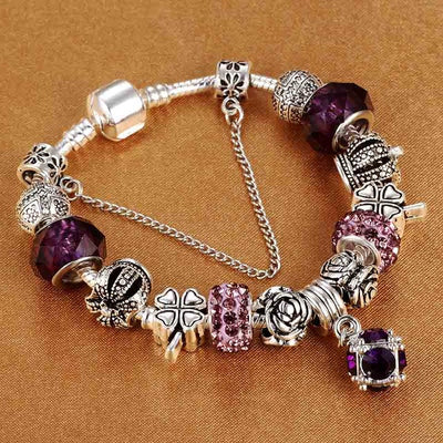 Vintage charm bracelet women silver plated DIY jewelry gift