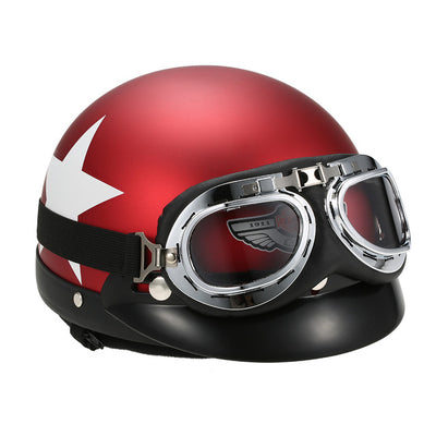 Motorcycle Half Open Face Helmet Goggles Scooter biker sport red black