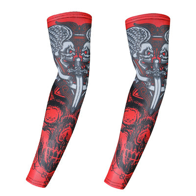 Skull motorcycle arm sleeves warmers cycling bicycle ridding golf cuff