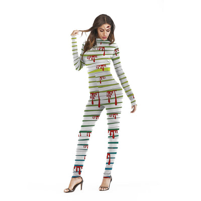 Sexy helloween costume catsuit pants back zipper mummy bandage bloody scary print elastic