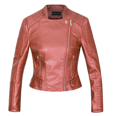 New leather biker jacket soft coats motorcycle lady streetwear