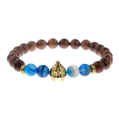 Natural wood beads bracelet bangles gold dragon spartan warrior helmet men jewelry