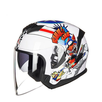 Open face scooter helmet dual lens electric motorcycle joke helmets