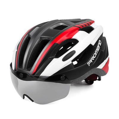 Cycling helmet goggles Integrally molded MTB bicycle helmets glasses lens