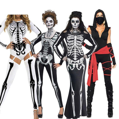 Skull halloween costumes ghost zombie vampire devil cosplay party