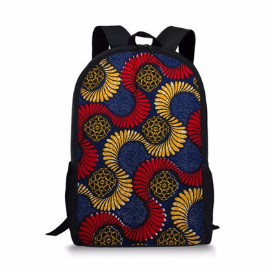 Vintage canvas backpack African traditional printed bags set school bag girls students 3pcs