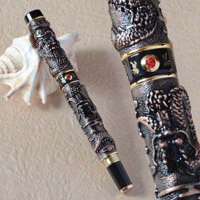vintage pen dragon roller ball pearl golden copper silver brass best gift
