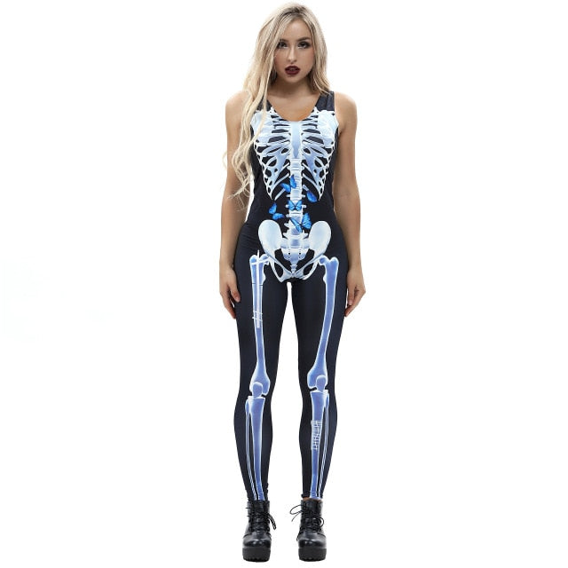 ae37a73a8083 Sexy halloween fantastic scary costume women catsuit jumpsuit cosplay  skeleton rose print