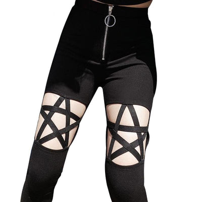 Sexy women tight pants black gothic leggings hollow out five-pointed star