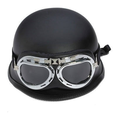 vintage half face motrocycle helmets german matte black vespa scooter biker