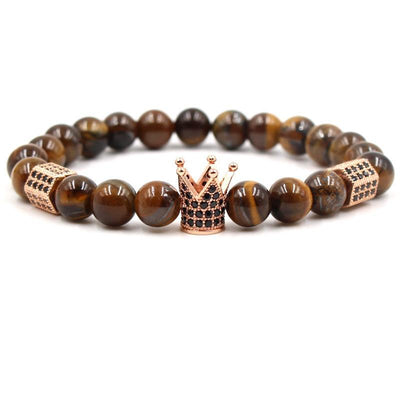 Charm natural stone bracelets zircon black brown crown matt onyx biker men 8mm
