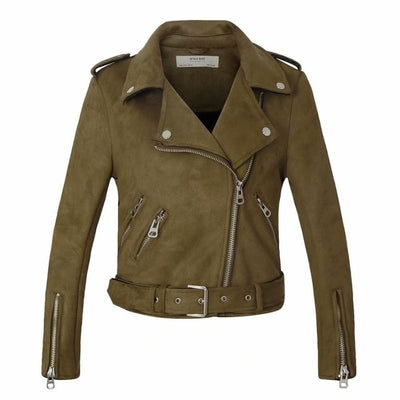 Leather biker jacket women matte motorcycle coat lady fashion