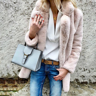 Women winter coat elegant pink faux fur overcoat soft warm casual jacket