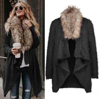 Women long cardigan coat collar faux fur Jacket winter autumn oversize