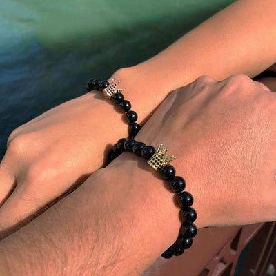 Men women stone beads bracelet charm bangles crown love jewelry gift