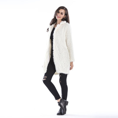 Women long cardigan coat faux fur overcoat warm soft teddy jacket winter autumn