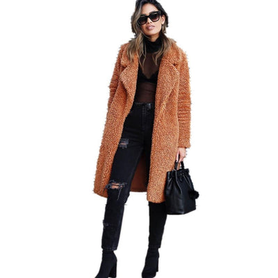 Women long cardigan coat faux fur teddy jacket winter outwear warm soft elegant